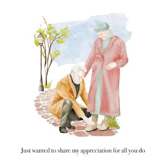 Нарисованная рукой акварельная иллюстрация пары пожилых людей гуляет в парке