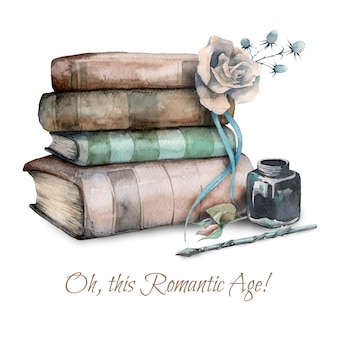 Hand drawn watercolor illustration of retro old books, rose flower and inkwell