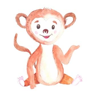 Рисованной акварельные иллюстрации с милыми обезьянами, изолированных на белом фоне