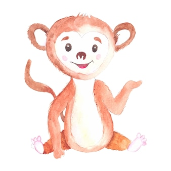Hand drawn watercolor illustration with cute monkeys isolated on the white background