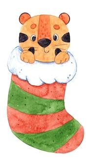 Нарисованная рукой акварельная иллюстрация с милым тигром и рождественским носком