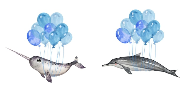 Hand drawn watercolor illustration with dolphin and narwhal