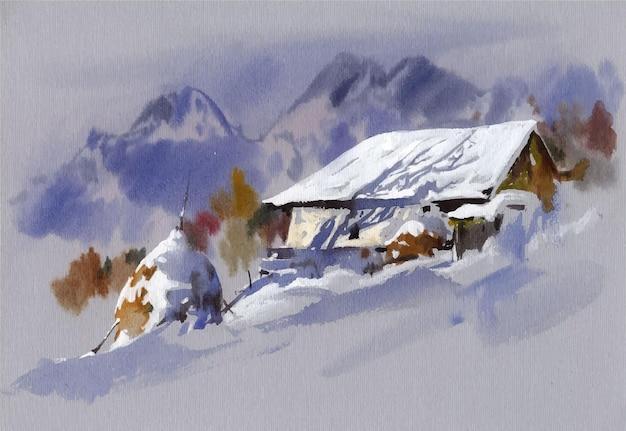 산에서 손으로 그린 수채화 풍경 그림