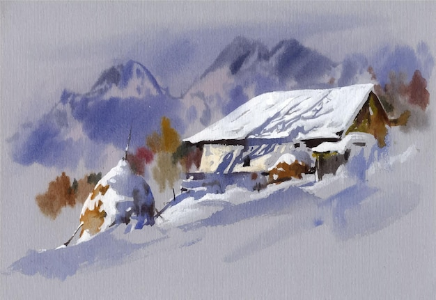 Hand drawn watercolor landscape illustration in the mountains