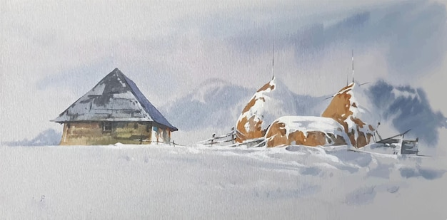 Hand drawn watercolor landscape with mountains and house illustration