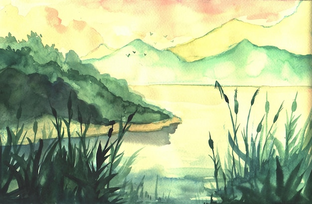 Hand drawn watercolor landscape with river