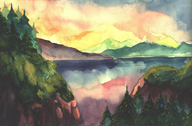 Hand drawn watercolor landscape