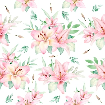 Hand drawn watercolor lily seamless pattern