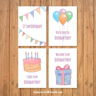 Комплект рисованной акварельные открытки прекрасный день рождения