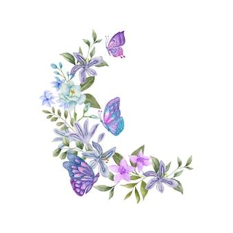 蝶と手描きの水彩画の素敵な花束の装飾