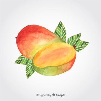 Hand drawn watercolor mango background