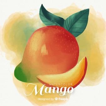 Hand drawn watercolor mango background