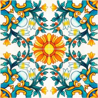 손으로 그린 수채화 지중해 시칠리아 전통 타일