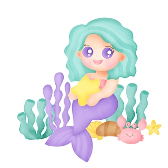Hand drawn watercolor mermaid card.