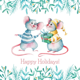 Hand drawn watercolor mice with present and decorations
