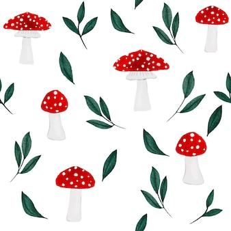Ручной обращается акварель грибы и зеленые листья бесшовные модели на белом фоне