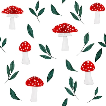 Hand drawn watercolor mushrooms and green leaves seamless pattern design on white background