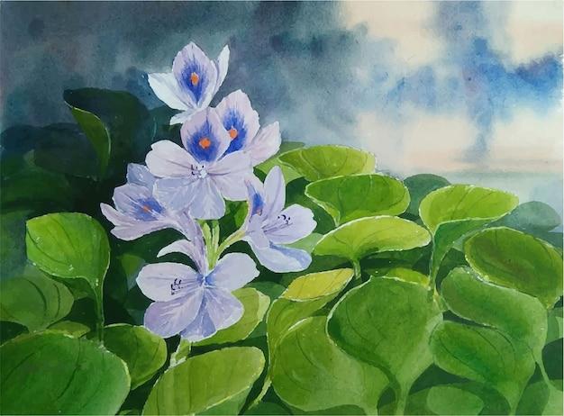 손으로 그린 수채화 자연 꽃 풍경