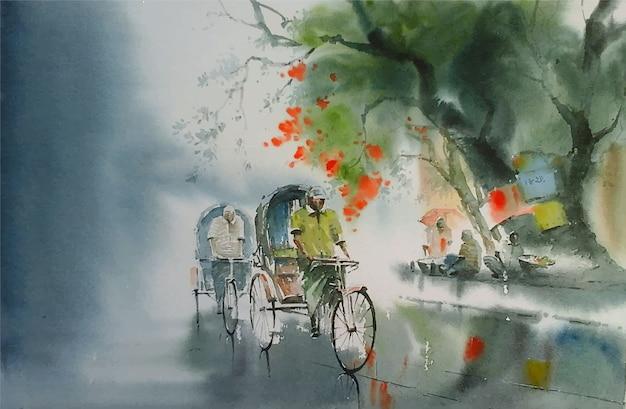 手描き水彩自然風景