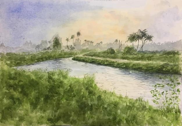 Ручной обращается акварель природа река иллюстрация
