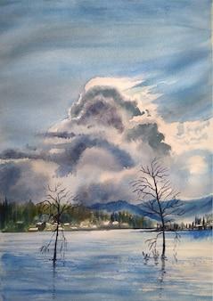 手描きの水彩画の自然、海と空の反射