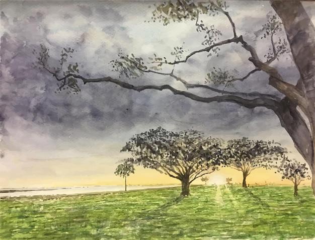 나무 일러스트와 함께 손으로 그린 수채화 자연