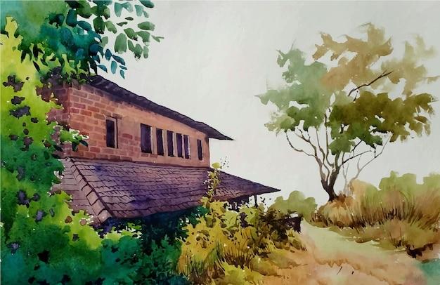 가을 그림에서 손으로 그린 수채화 오래 된 집