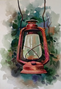 Hand drawn watercolor old oil lamp on the wall illustration