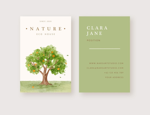 Hand drawn watercolor orange tree background business card template