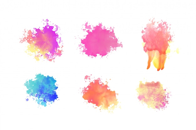 Hand drawn watercolor paint brush splatter set design