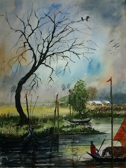 Hand drawn watercolor painting boat on the river with tree illustration
