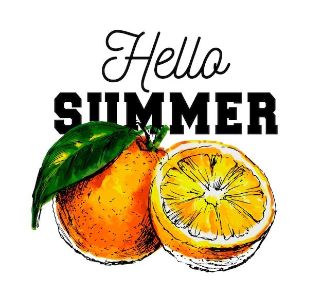 Ручной обращается акварель на белом фоне. иллюстрация фруктов апельсин слоган hello summer