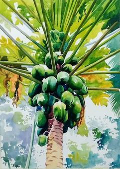 코코넛 일러스트와 함께 손으로 그린 수채화 야자수