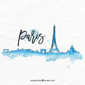Hand drawn watercolor paris background