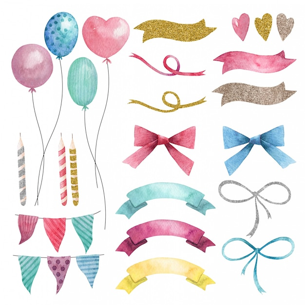 Hand drawn watercolor party set of balloons, flags and bows