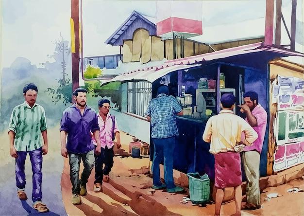 通りのイラストで手描きの水彩画の人々