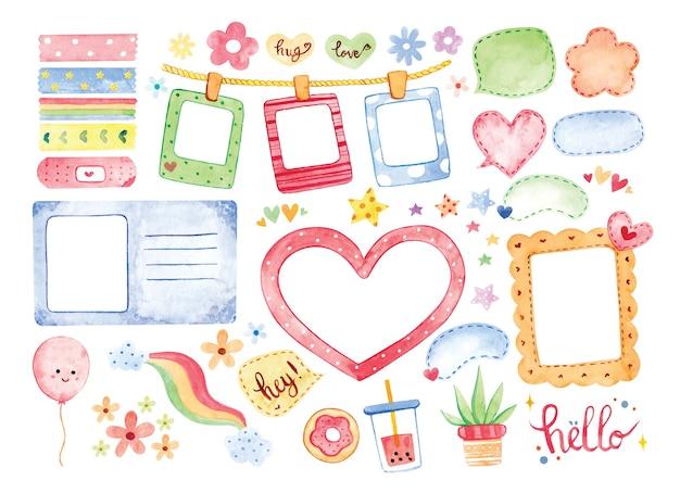 손으로 그린 수채화 사진 프레임 및 귀여운 스크랩북 요소 그림