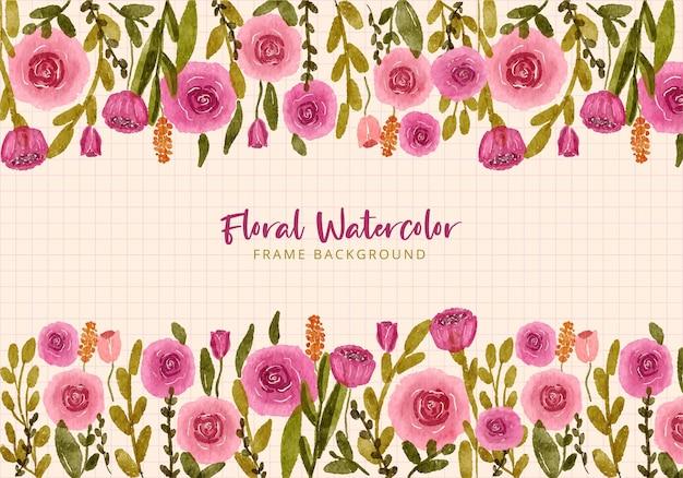 Hand drawn watercolor pink flower garden frame background