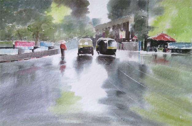 手描き水彩雨の日の都市道路風景