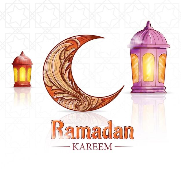 Ручной обращается акварель рамадан карим фон с фонарем и мечетью