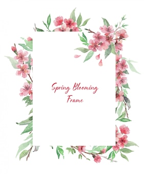 Hand drawn watercolor rectangle frame with blooming floral branches