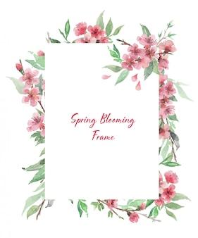 개화 꽃 가지와 손으로 그린 수채화 사각형 프레임