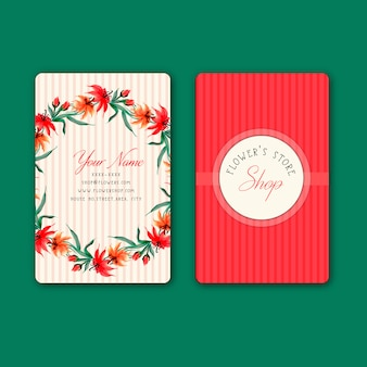 手描きの水彩赤い花の名刺デザイン