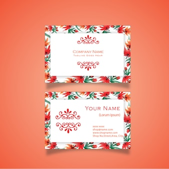 Hand drawn watercolor red floral business card design