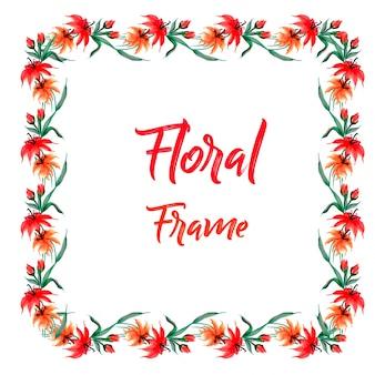 Disegnato a mano disegno acquarello rosso floreale telaio