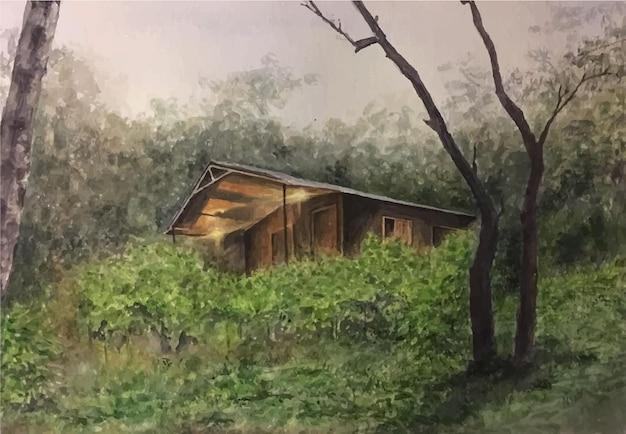 숲 환경 그림에서 손으로 그린 수채화 리조트