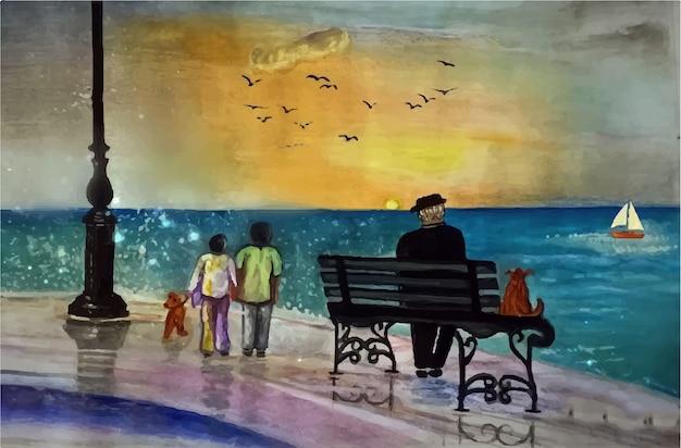 手描きの水彩リゾート、海のビーチのイラストの中の軽食