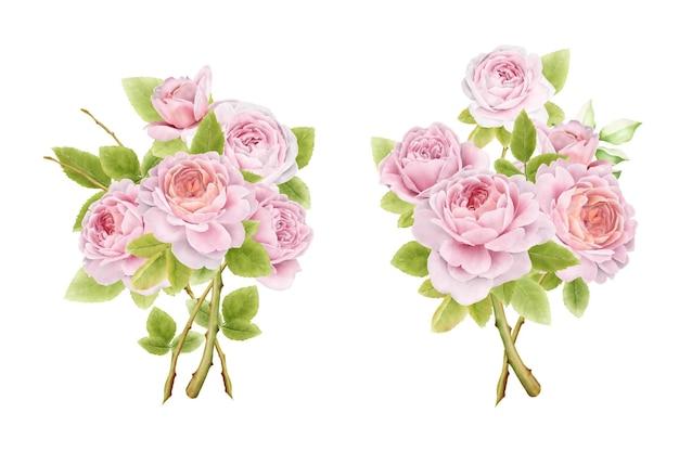 손으로 그린 수채화 장미 꽃다발 세트