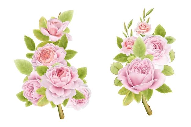 手描きの水彩バラの花束セット