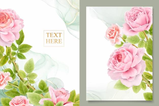 手描きの水彩バラの花束